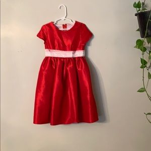 Little girls red and white Christmas dress.